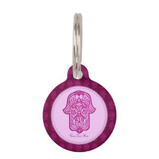 Mano de la alheña de Hamsa (rosa) Placa Para Mascotas
