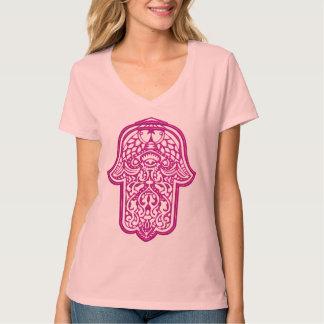 Mano de la alheña de Hamsa (rosa) Remeras