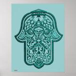 Mano de la alheña de Hamsa (trullo) Póster