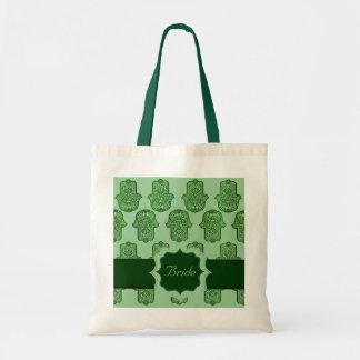 Mano de la alheña de Hamsa (verde) (boda)