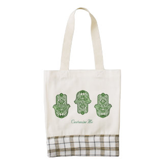 Mano de la alheña de Hamsa (verde) Bolsa Tote Zazzle HEART