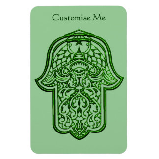 Mano de la alheña de Hamsa (verde) Iman Rectangular