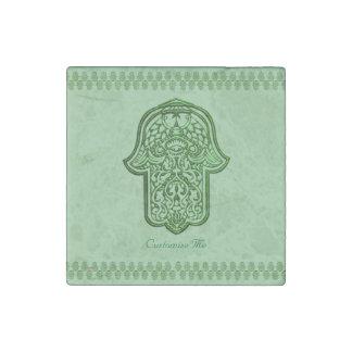 Mano de la alheña de Hamsa (verde) Imán De Piedra