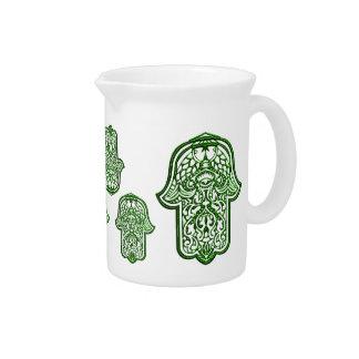 Mano de la alheña de Hamsa (verde) Jarras De Beber