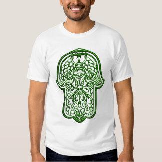 Mano de la alheña de Hamsa (verde) Poleras