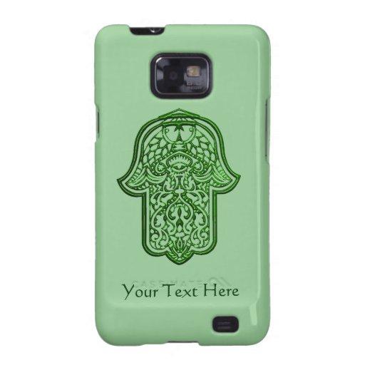 Mano de la alheña de Hamsa (verde) Samsung Galaxy S2 Carcasa