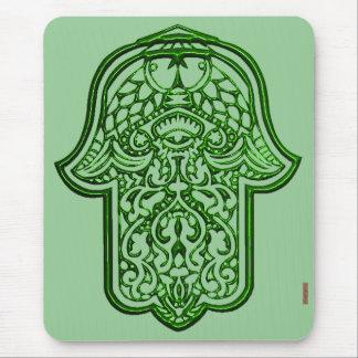 Mano de la alheña de Hamsa (verde) Tapete De Raton