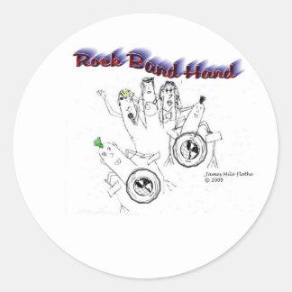 Mano de la banda de rock pegatinas redondas
