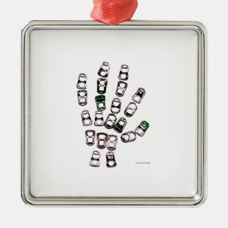 Mano de la etiqueta del tirón de la poder de soda adorno navideño cuadrado de metal