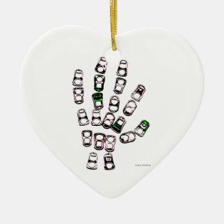 Mano de la etiqueta del tirón de la poder de soda adorno navideño de cerámica en forma de corazón