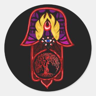 Mano de la hazaña de Hamsa: Árbol de la vida 3 Pegatina Redonda