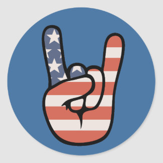 Mano de la roca del patriota pegatina redonda