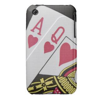 Mano de la veintiuna - as y reina (3) iPhone 3 Case-Mate coberturas