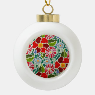 Mano de las memorias del verano bordada alrededor adorno de cerámica en forma de bola