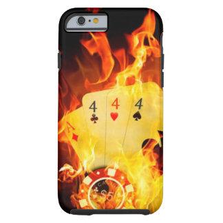 Mano de póker llameante funda de iPhone 6 tough