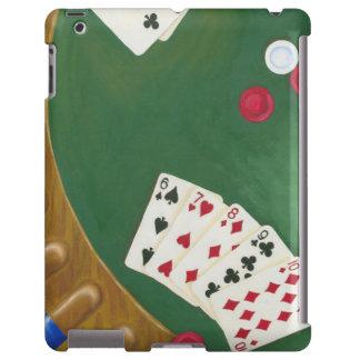 Mano de póker que gana seis a diez funda para iPad