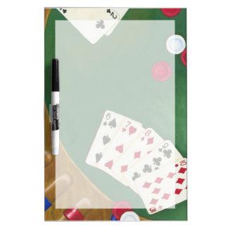 Mano de póker que gana seis a diez pizarras blancas