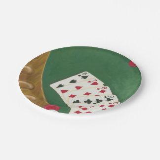 Mano de póker que gana seis a diez plato de papel de 7 pulgadas
