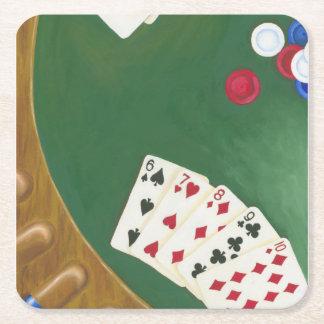 Mano de póker que gana seis a diez posavasos de cartón cuadrado