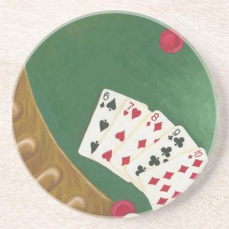 Mano de póker que gana seis a diez posavasos para bebidas