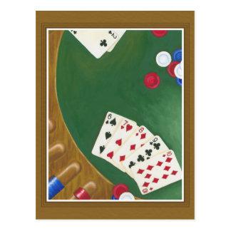 Mano de póker que gana seis a diez postales
