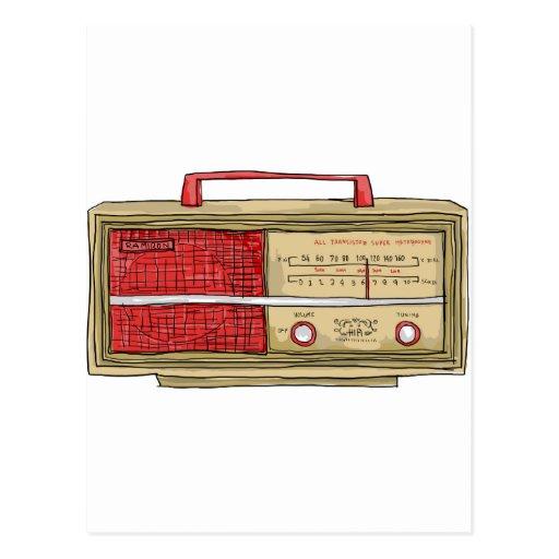 mano de radio dibujada tarjeta postal
