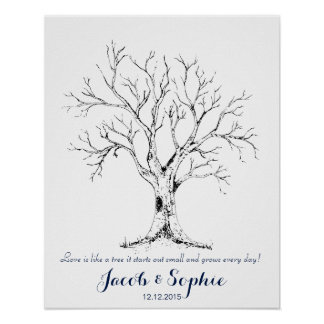 mano del árbol del libro de visitas del boda de la póster