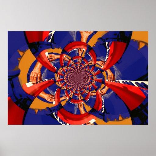 mano del caleidoscopio que juega el azul anaranjad posters