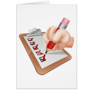 Mano del dibujo animado y tablero de la encuesta tarjeta