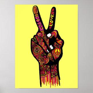 Mano del signo de la paz póster