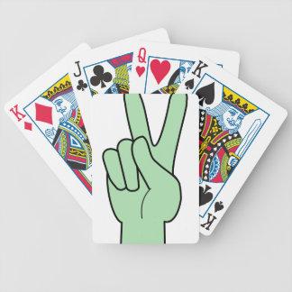 Mano del símbolo de paz cartas de juego