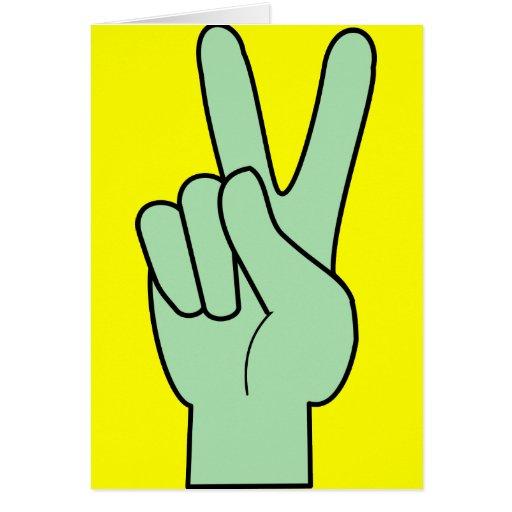 Mano del símbolo de paz tarjeta de felicitación