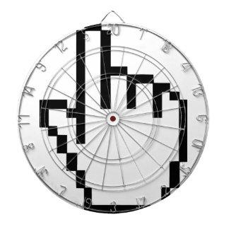 Mano del tecleo del cursor tabla dardos
