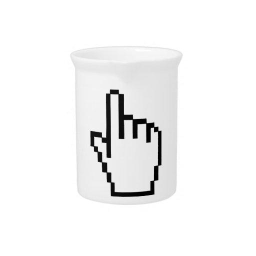 Mano del tecleo del cursor jarras