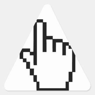 Mano del tecleo del cursor pegatinas triangulo personalizadas