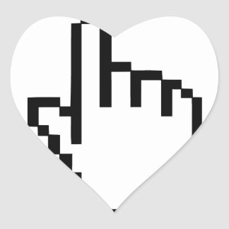 Mano del tecleo del cursor pegatina en forma de corazón