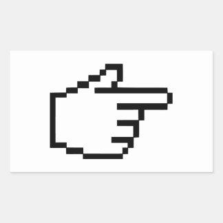 Mano del tecleo del cursor pegatina rectangular