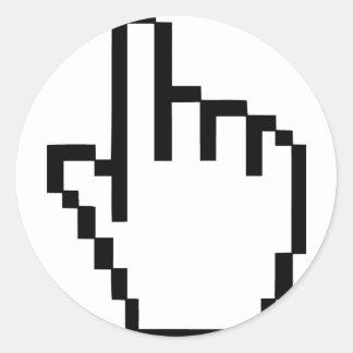 Mano del tecleo del cursor pegatina redonda