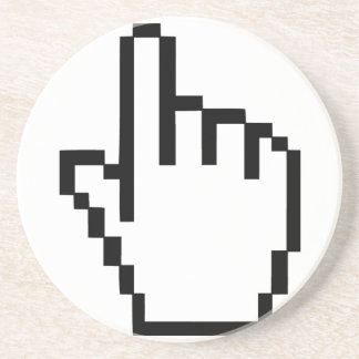 Mano del tecleo del cursor posavasos diseño