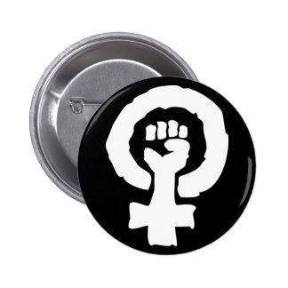 Mano femenina universal de la solidaridad del pin redondo de 2 pulgadas