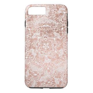 Mano floral de la mandala del falso oro color de funda iPhone 7 plus