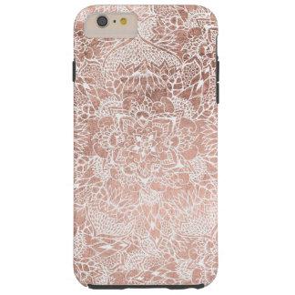 Mano floral de la mandala del falso oro color de funda resistente iPhone 6 plus