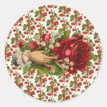 Mano floral del vintage pegatina redonda