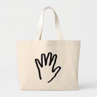 mano humana negra bolsa