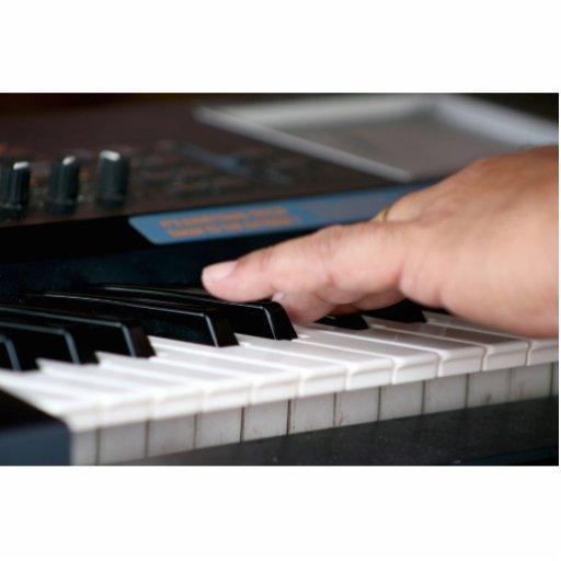 mano izquierda eléctrica del piano que juega diseñ fotoescultura vertical