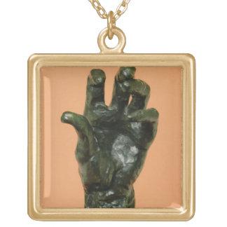 Mano izquierda grande (bronce) colgante cuadrado