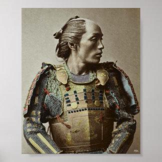 Mano japonesa de la foto del vintage del samurai póster
