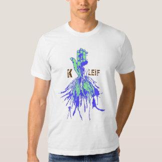 Mano K Leif de la raíz del verde azul Playera