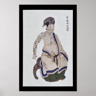 Mano meridiana Yangming del intestino grueso de la Póster