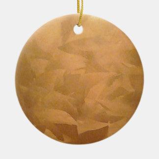 Mano metálica de cobre cepillada adorno navideño redondo de cerámica